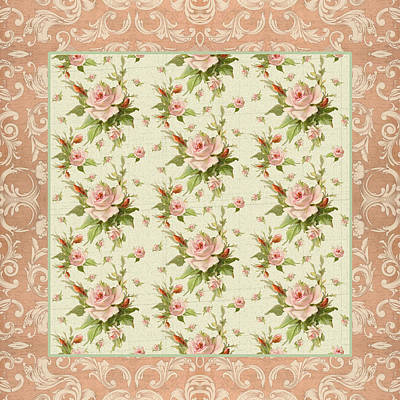 Summer At Cape May - Aged Modern Roses Pattern Print by Audrey Jeanne Roberts