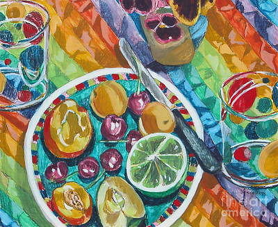 Egg Tempera Painting - Summer Breakfast by Jan Bennicoff