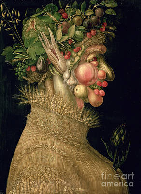 Raspberry Painting - Summer by Giuseppe Arcimboldo