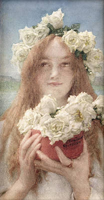Flowers In Her Hair Painting - Summer Offering by Sir Lawrence Alma-Tadema