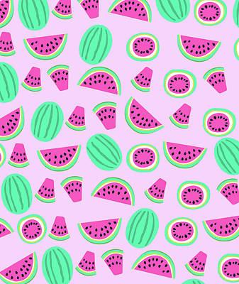 Watermelon Drawing - Summer Watermelon by Arte Flora Design Studio
