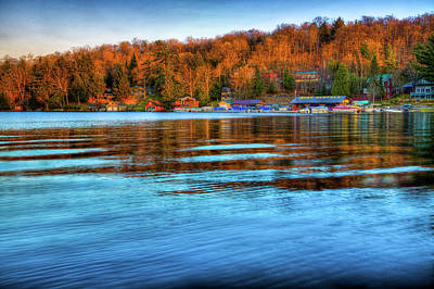 Boathouses Photograph - Sun Setting On The Marina by David Patterson