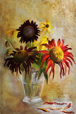 Digital Sunflower Digital Art - Sunflowers by Elena Nosyreva