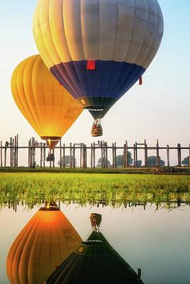 Landmarks Photograph - Sunrise At U Bein Bridge by Anek Suwannaphoom