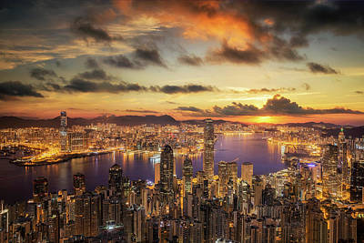 Sunrise Over Victoria Harbor As Viewed Atop Victoria Peak Print by Anek Suwannaphoom