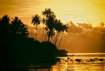 Silhoette Digital Art - Sunset In Atiha, Moorea, French Polynesia by Hans Schrodter