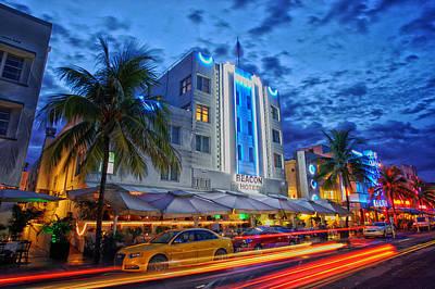 Sunset On Ocean Drive - Miami Beach Print by Mountain Dreams