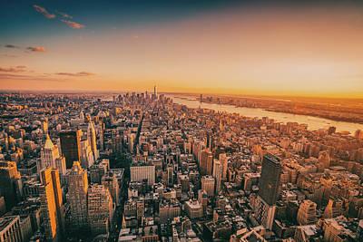Skylines Photograph - Sunset Over The New York City Skyline by Vivienne Gucwa