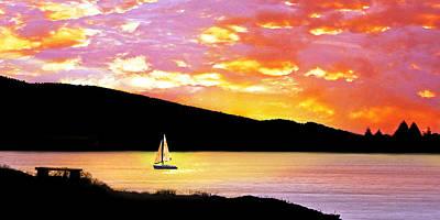 Orca Digital Art - Sunset Sails by Vicki Lea Eggen