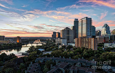 Austin Photograph - Sunset Skyline Over Austin by Tod and Cynthia Grubbs