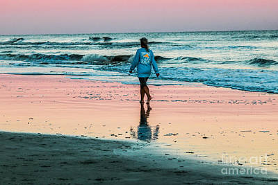 Sunset Stroll In The Surf Print by Thomas Marchessault