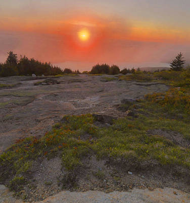 Down East Maine Photograph - Sunset Through Fog by Stephen  Vecchiotti