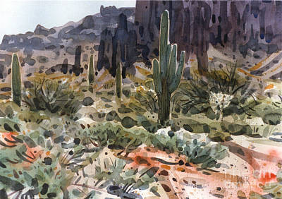 Saguaro Cactus Painting - Superstition Trailhead by Donald Maier