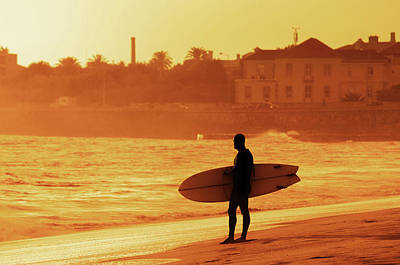 Surfer Silhouette Print by Carlos Caetano