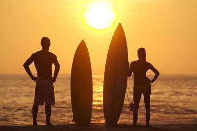 Surfing Art Photograph - Surfer Silhouettes by Larry Dale Gordon - Printscapes