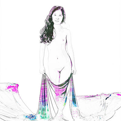 Suro Female Nude Watercolor Painting Fine Art Print Or Picture P Print by Kendree Miller