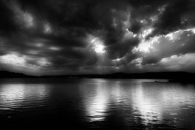 Storm Clouds Sunset Twilight Water Photograph - Surreal Clouds Over Inks Lake by Mountain Dreams