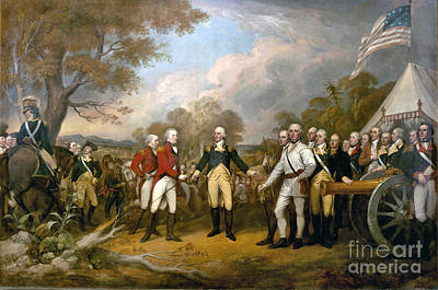 Soldiers Painting - Surrender Of General Burgoyne  by John Trumbull