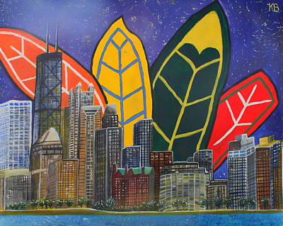 Blackhawk Painting - Sweet Home Chicago  by Katelyn Brown