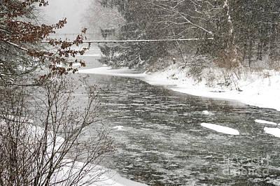 Winter Storm Photograph - Swinging Bridge In Snow Storm by Thomas R Fletcher