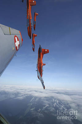 Foreign Military Photograph - Swiss Air Force Display Team, Pc-7 by Daniel Karlsson