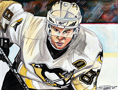Hockey Drawing - Sydney Crosby by Dave Olsen