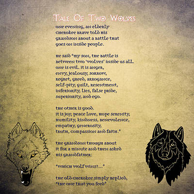 Tale Of Two Wolves - Art Of Stories Print by Celestial Images