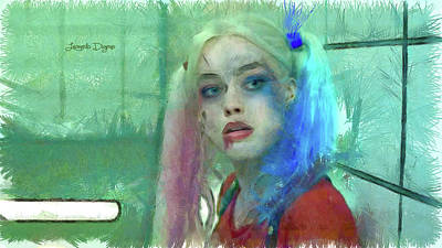 Joker Painting - Talking To Harley Quinn - Pencil Style by Leonardo Digenio