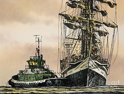 Tall Ship Assist Print by James Williamson