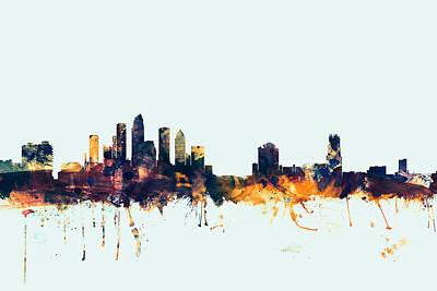 Miami Digital Art - Tampa Florida Skyline by Michael Tompsett