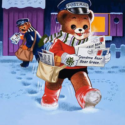 Bear Drawing - Teddy Bear Postman by William Francis Phillipps