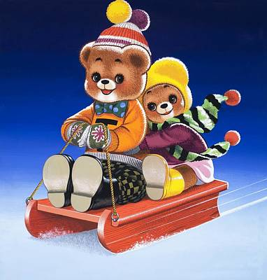 Bear Drawing - Teddy Bear Sleigh Ride by William Francis Phillipps