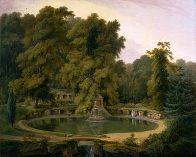 Thomas Daniell Painting - Temple Fountain And Cave In Sezincote Park by Thomas Daniell
