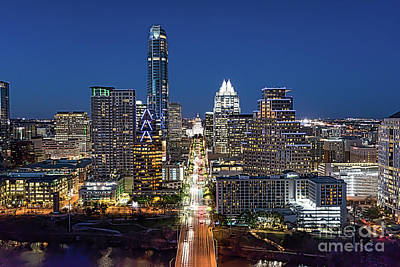 Night Photograph - Texas Capital Skyline by Tod and Cynthia Grubbs