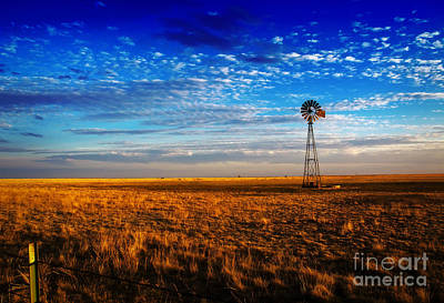 Texas Plains Windmill Print by Fred Lassmann