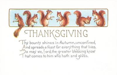 Squirrel Drawing - Thanksgiving Card by American School
