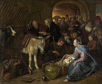 Dutch Shepherd Painting - The Adoration Of The Shepherds by Jan Steen