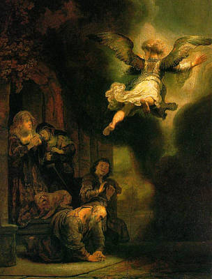 Religion Painting - The Angel Raphael Leaving Tobit And His Family by Rembrandt van Rijn