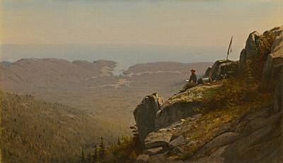 Maine Mountains Painting - The Artist Sketching At Mount Desert Maine by Mountain Dreams