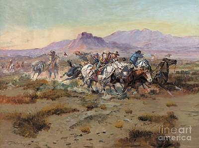 The Horse Painting - The Attack by Charles Marion Russell