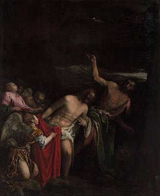 Baptism Painting - The Baptism Of Christ by Jacopo Bassano