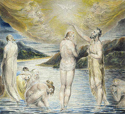 Baptism Painting - The Baptism Of Christ by William Blake