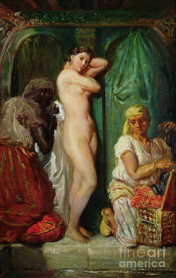 Massaging Painting - The Bath In The Harem by Theodore Chasseriau
