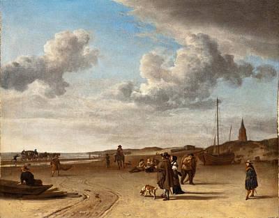 Adriaen Van De Velde Painting - The Beach Scheveningen by Adriaen van de Velde