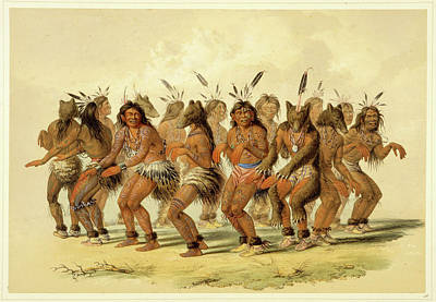 George Catlin Drawing - The Bear Dance by George Catlin