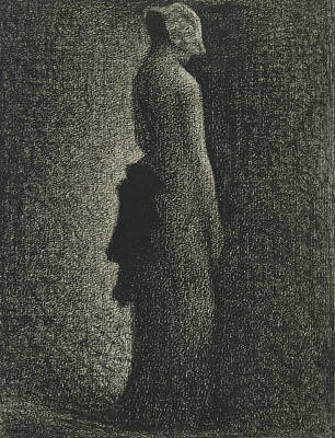Crayons Drawing - The Black Bow by Georges-Pierre Seurat