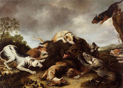 Boar Painting - The Boar Hunt by Frans Snyders