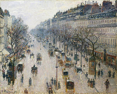 Streetscape Painting - The Boulevard Montmartre On A Winter Morning by Camille Pissarro