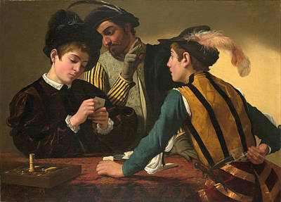 Caravaggio Painting - The Cardsharps by Caravaggio