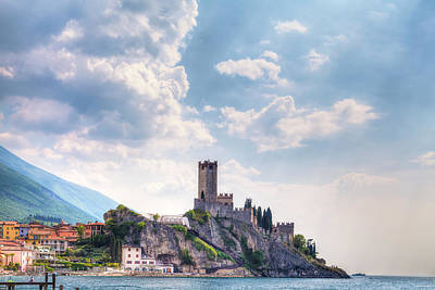 Photograph - the Castello Scaligero, the castle of Malcesine at the Lake Garda in Italy by Regina Koch